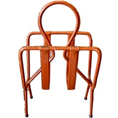 Jacques Adnet Saddle Leather Magazine Rack