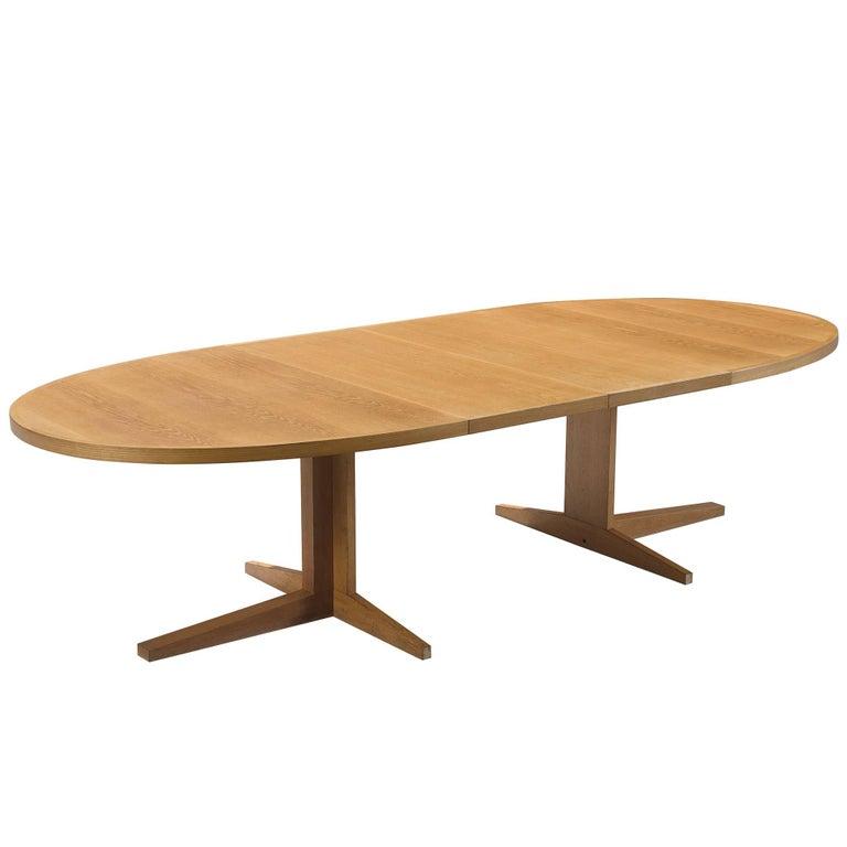 Scandinavian Extendable Oval Oak Dining Table For