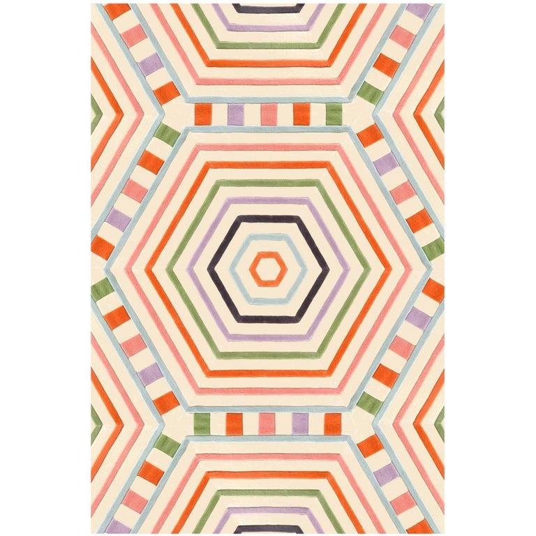 Kinder Modern Stripe Rectangular Area Rug In 100 New Zealand Wool
