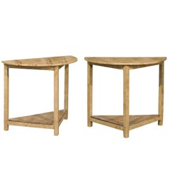 Pair of English 1950s Demi-Lune Tables with Painted Faux-Bois Tops and Shelves