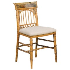 English Period Regency Accent Side Wooden Chair with Painted Scene, circa 1820