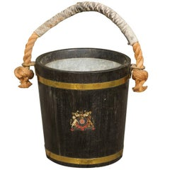 English Oak Champaign Bucket with Coat of Arms from the Late 19th Century