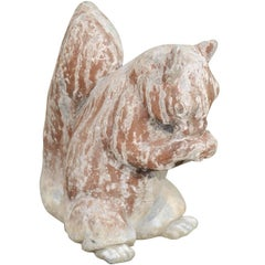 English 1930s Painted Lead Animal Sculpture Depicting a Squirrel Eating a Nut