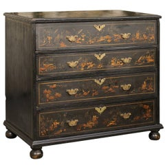 English 1725s Georgian Chinoiserie Four-Drawer Commode of Ebonized Wood