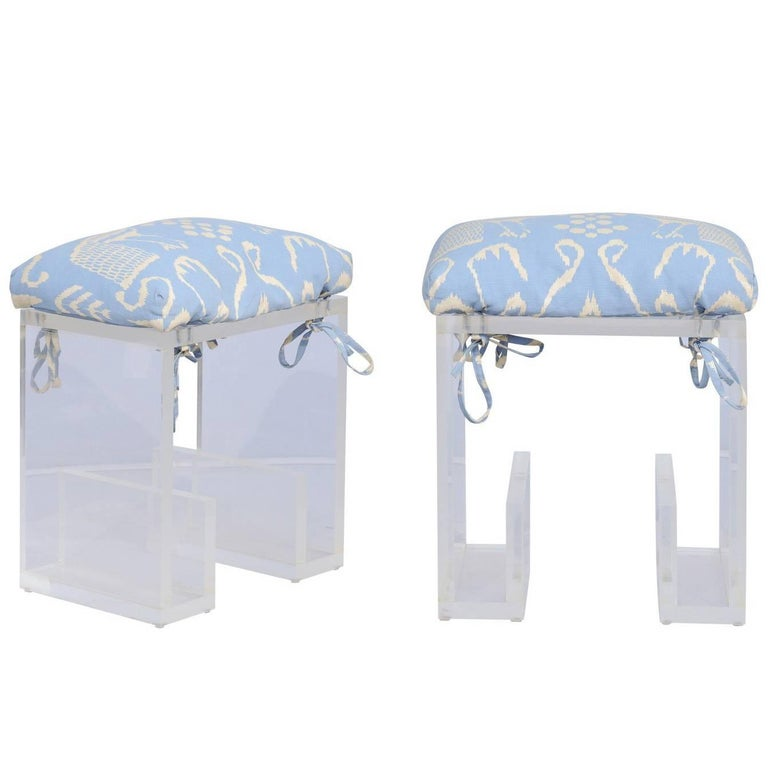 Pair of 1970s, Karl Springer Lucite Stools from a Celebrity's New York Apartment