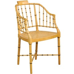 Baker Furniture Vintage Faux Bamboo Tub Chair with Cane Seat and Cross Stretcher