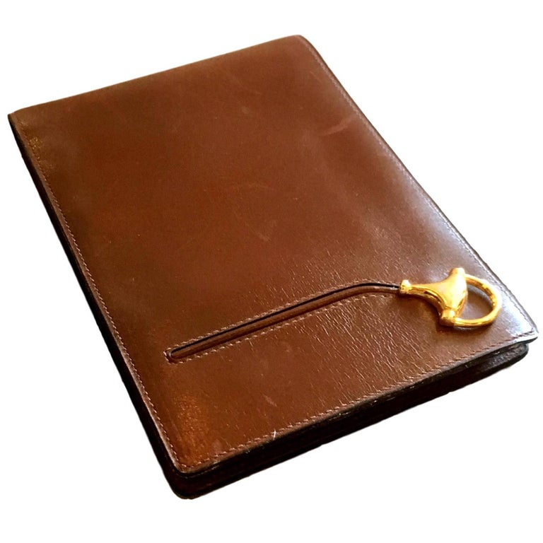 Vintage Saddle Leather Gucci Notepad