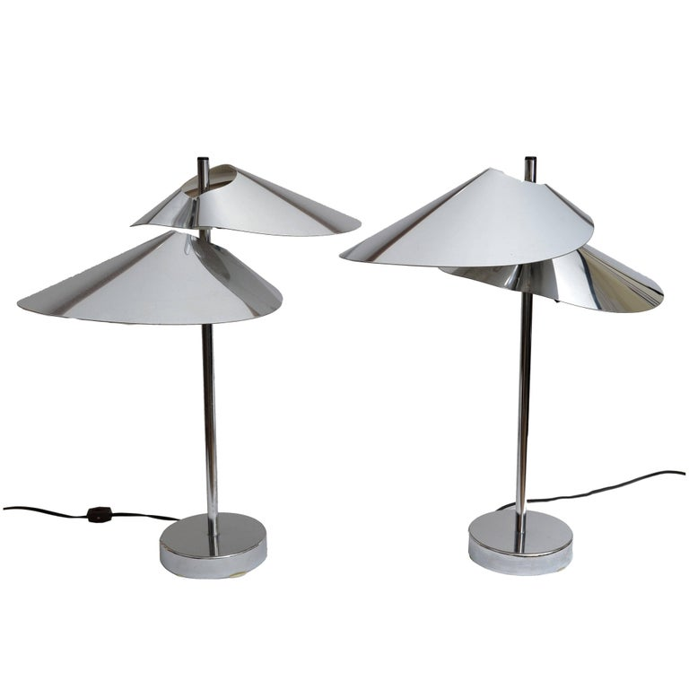 Pair of Curtis Jere Double Sided 'Visor' Table Lamps in Chrome