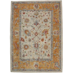 Contemporary Turkish Oushak Rug with Tribal Boho Chic Style, Orange Oushak Rug