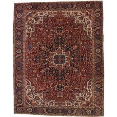 Antique Persian Heriz Rug with English Tudor Manor Style