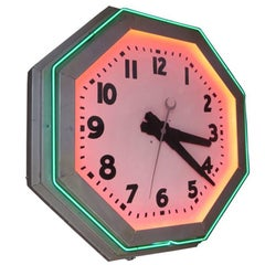 Large Octagon Deco Neon Clock, 1930s