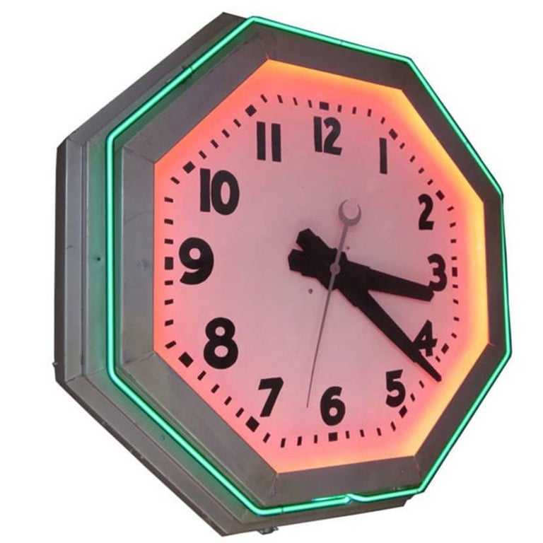 Large Octagon Deco Neon Clock, 1930s For Sale