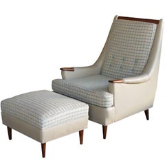 Stylish American Leather & Tweed Lounge Chair and Matching Ottoman, 1960s