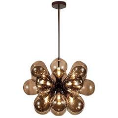 Cintola Maxi Pendant, Contemporary Pendant in Bronze Finish and Handblown Glass