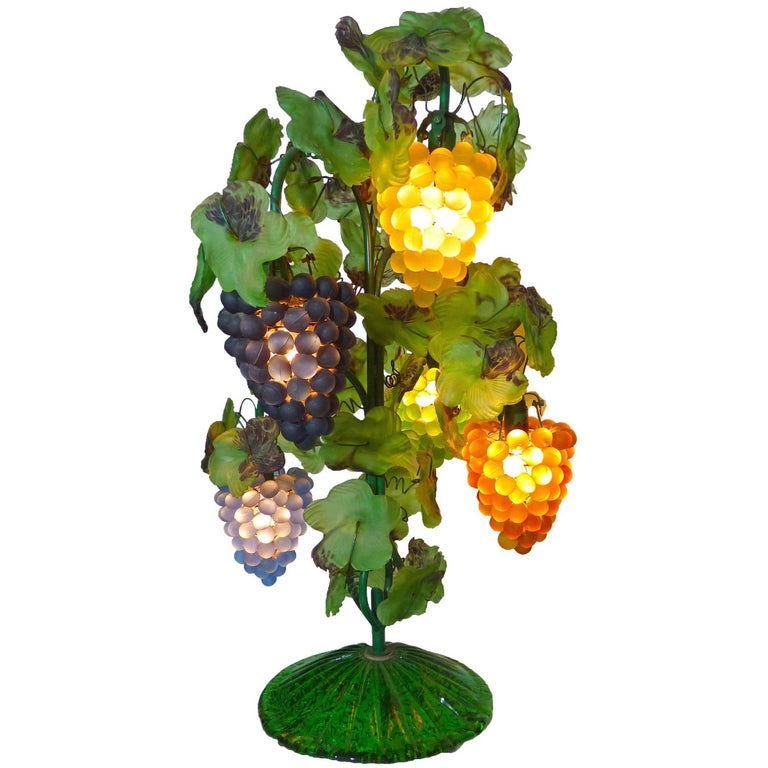 Large Murano Grape, Leaf Art Glass Floor or Table Lamp