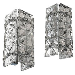 Pair of Crystal Glass Wall Sconces by Kinkeldey, circa 1960s, Austria Lighting