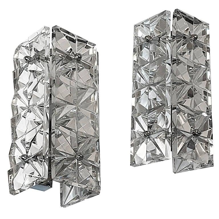 Pair of Crystal Glass Wall Sconces by Kinkeldey, circa 1960s, Austria Lighting