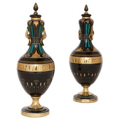 Pair of Antique Bohemian Black Glass Vases in the Egyptian Revival Style