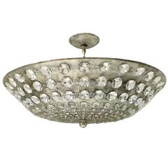 Large Silver Leaf Light Fixture with Crystals