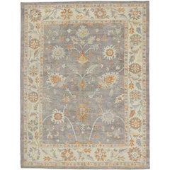 Contemporary Turkish Oushak Rug with Neutral Colors and Transitional Style
