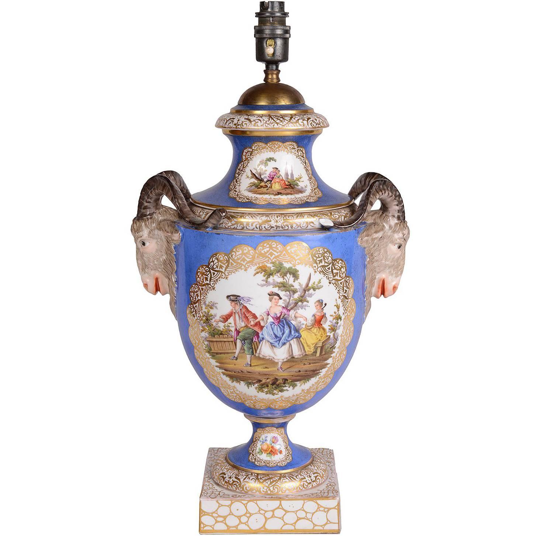 19th Century Dresden Porcelain Vase or Lamp