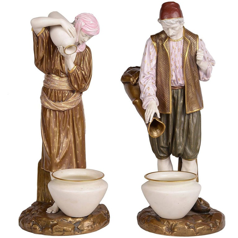 Pair of 19th Century Royal Worcester Eastern Water Carriers For Sale