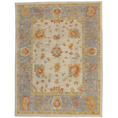 Contemporary Turkish Oushak Rug in Pastel Colors with Tribal Boho Chic Style