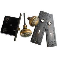 Art Nouveau Brass Door Hardware Set