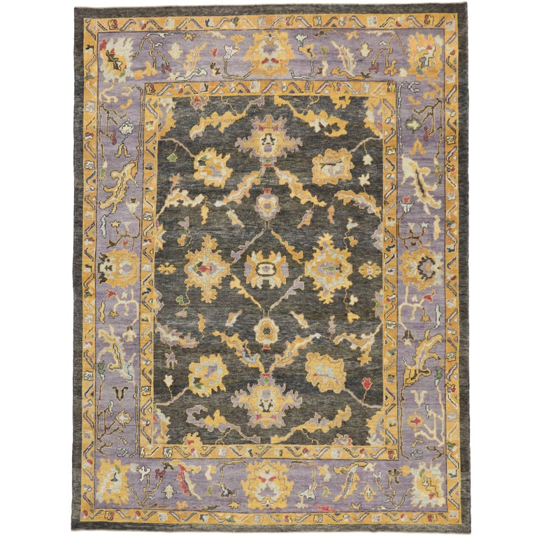 Modern Oushak Rug: Contemporary Turkish Oushak Rug, Charcoal And Lavender