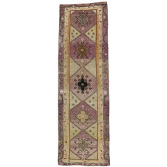 Vintage Turkish Oushak Extra Long Runner with Modern Style, Long Hallway Runner