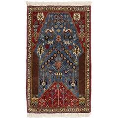 Tribal Style Vintage Persian Gashgai Prayer Rug, Kashgai Qashqai Pictorial Rug