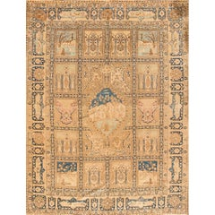 Antique 1930s Tan or Beige Pictorial Tabriz Carpet