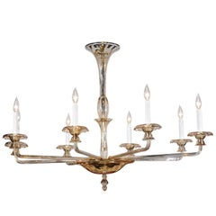 Vintage Italian Murano Eight-Light Chandelier with Amber Accents, circa 1940