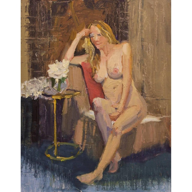 """Unframed Nude Oil on Linen Panel """"Contemplating"""", circa 2016"""