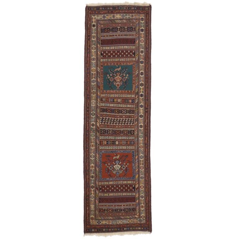 Vintage Turkish Kilim Runner with Tribal Style, Flat-Weave Hallway Runner