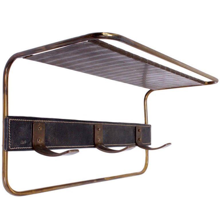 Jacques Adnet Leather and Brass Coat Hook