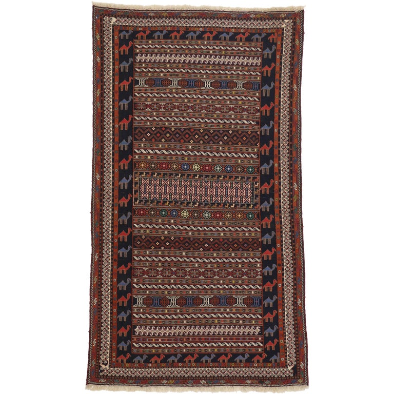 Vintage Soumak Persian Rug with Tribal Style