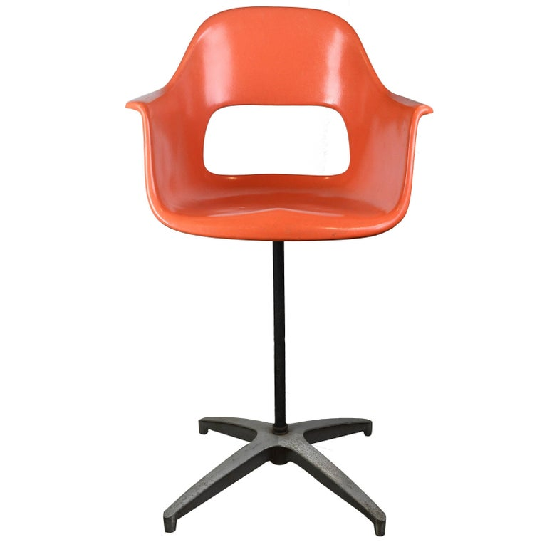 Eames Orange Fiberglass Chair At 1stdibs