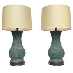 20th Century Chinese Green Bronze Table Lamps, Pair