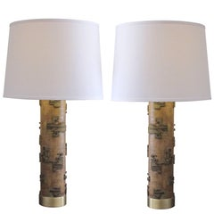 Well-Crafted Pr of French Art Deco Wall Paper Roller Lamps w/Solid Brass Mounts