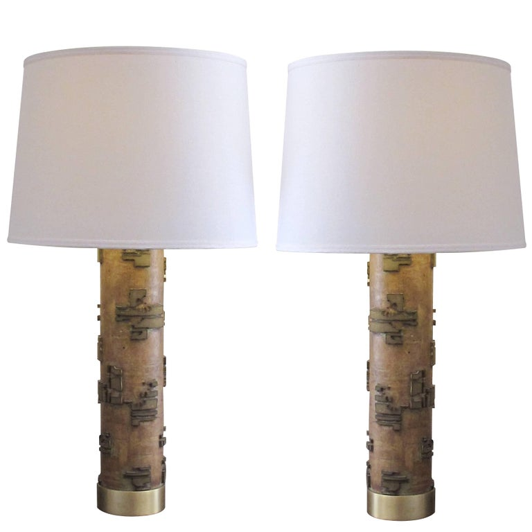 Well-Crafted Pr of French Art Deco Wall Paper Roller Lamps w/Solid Brass Mounts For Sale