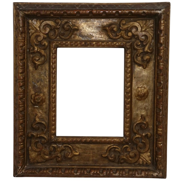 18th Century Spanish Colonial Carved and Gilt Frame For Sale