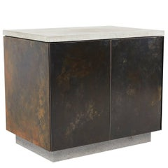 "Patinated Steel, Cast-Concrete and Walnut ""S.O. Side Table"" with Doors"