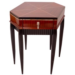 1920s Polygon Side Table in Rosewood with Inlays and Bar, Early French Art Deco