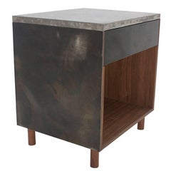 "Patinated Steel, Cast-Concrete and Walnut ""SCW Side Table"" with Drawer"