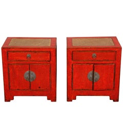 Pair of Oriental Red Lacquered Cabinets