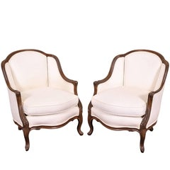 Pair of Petite Bergeres in White Upholstery