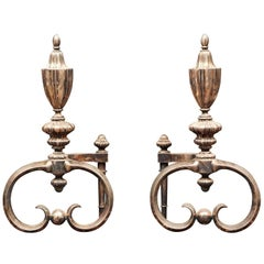 Fine Cast Pair of Heavy Silver Plate Andirons in the Adams Style