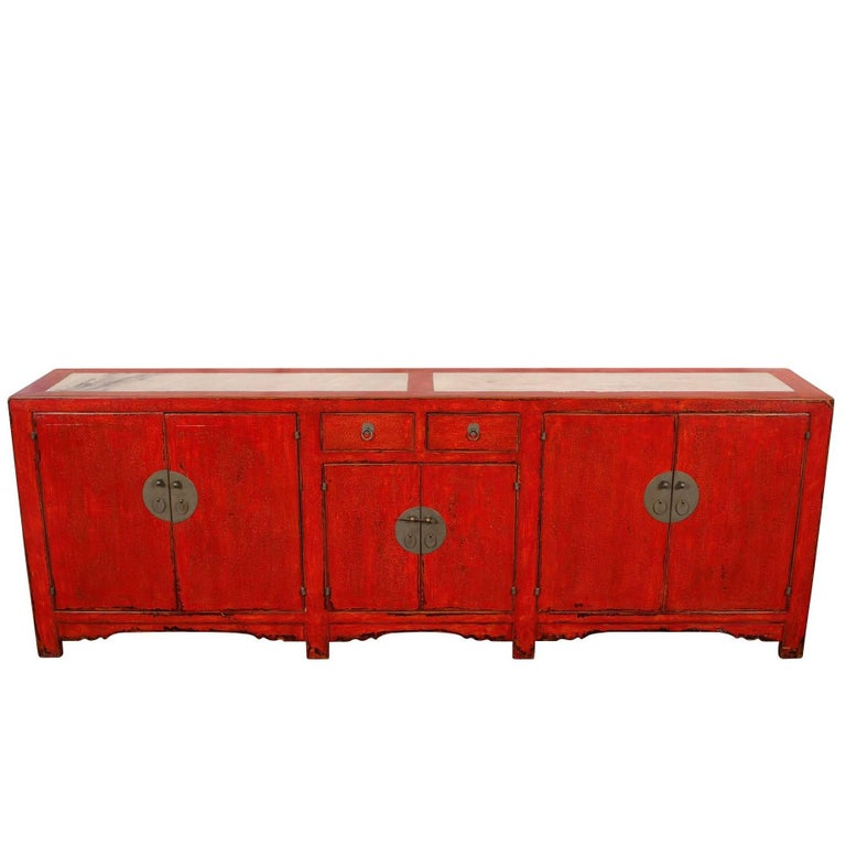 Red Lacquered Marble Top Chinese Storage Cabinet For