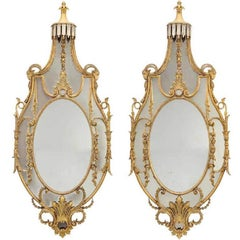 Pair of Early 20th Century Monumental Louis XVI Style Giltwood Console Mirrors